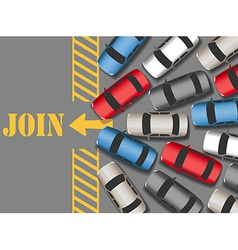 Cars traffic jam to join web site vector image