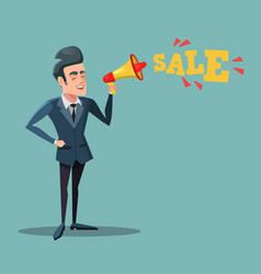 Cartoon businessman with megaphone promoting sale vector