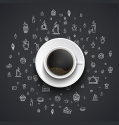 cup of black coffee stands on a black background vector image vector image