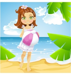 Cute little girl at the sunny beach vector image vector image