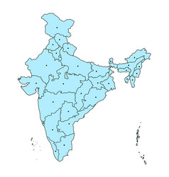 Detailed map of india asia with all states and vector