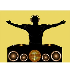 Dj and record decks with speakers vector