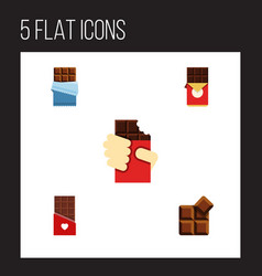 Flat icon sweet set of cocoa bitter shaped box vector