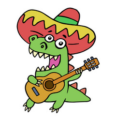 green dragon in mexican hat and with guitar on vector image vector image