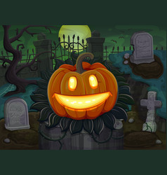 halloween pumpkin is smiling on cemetery vector image vector image