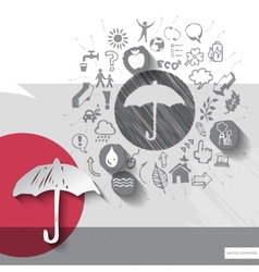 Hand drawn umbrella icons with icons background vector