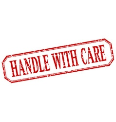 Handle with care square red grunge vintage vector