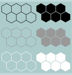 Hexagon black grey white icon vector