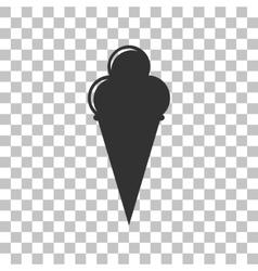 Ice Cream sign Dark gray icon on transparent vector image vector image
