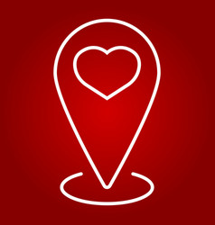 map pointer with heart line icon valentines day vector image vector image