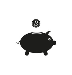 piggy bank sign black icon vector image vector image
