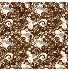 seamless brown floral pattern vector image