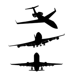 Set of black silhouette three airplanes vector