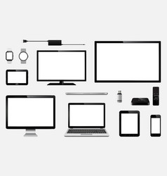 Set of realistic tv computer monitor laptops vector