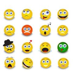 set of yellow round emoticons vector image