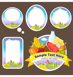 Stickers and labels with landscape farmland vector