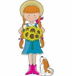 sunflower girl vector image