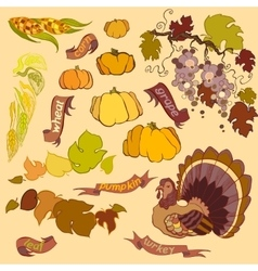 Thanksgiving elements set isolated on light vector image
