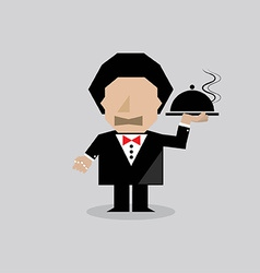 Waiter serving food vector