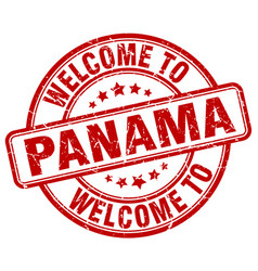 Welcome to panama red round vintage stamp vector