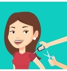 Woman cutting price tag off new t-shirt vector