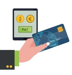 Hand holding credit card technology pay money vector