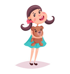Girl or child kid or schoolgirl with teddy bear vector