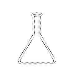 Conical flask sign  black dotted icon on vector
