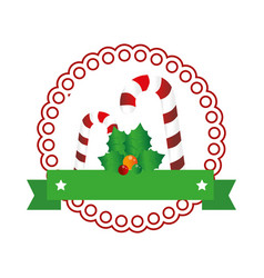 Color circular emblem with christmas candy cane vector