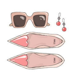 Fashion women shoes with sunglasses and earrings vector
