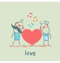 Girl and guy listening to the melody of the heart vector