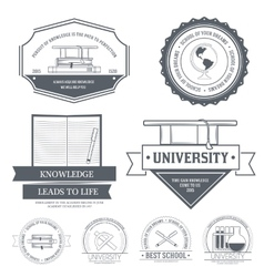Education set label template of emblem element for vector
