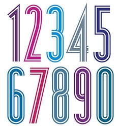 Colorful geometric bright striped numbers with vector