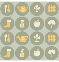 Seamless background with gardening related icons vector