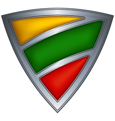 Steel shield with flag lithuania vector