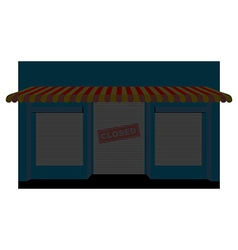 Shop closed storefront with a sign is closed vector