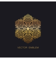 Art-deco golden emblem vector