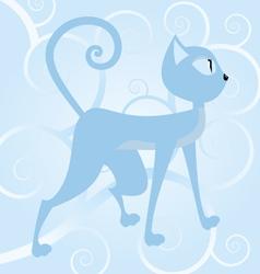 blue cat on spiral background vector image