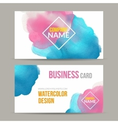 Business cards template with watercolor vector