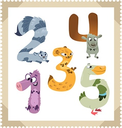 Cartoon animals numbers set with white bacground vector image