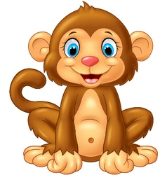 Cartoon cute monkey sitting on white background vector image