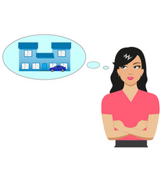 cartoon girl dreaming of a house and a car vector image vector image