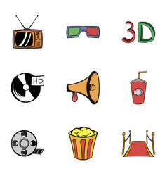 cinema icons set cartoon style vector image