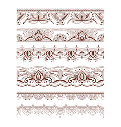 collection seamless border with floral ornament vector image vector image