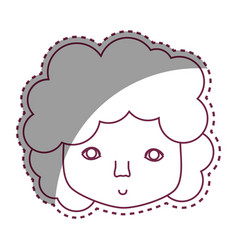 Contour man face with curly hair icon vector