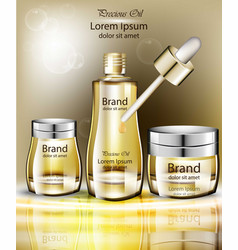 cosmetics oil set collection realistic vector image vector image