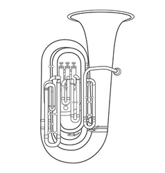 Dark contour tuba music instrument vector