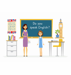 english lesson at school - cartoon people vector image