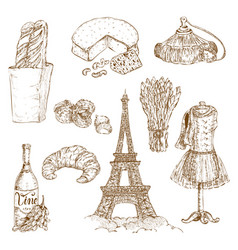 France hand drawn icon set vector