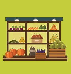 Fruit and vegetables shop stall vector